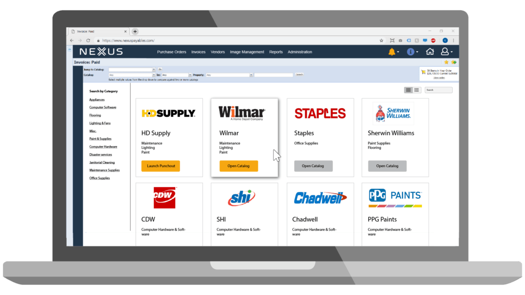 Host supplier catalogs within your procure-to-pay solution to make it easy for employees to purchase goods and services from approved suppliers.