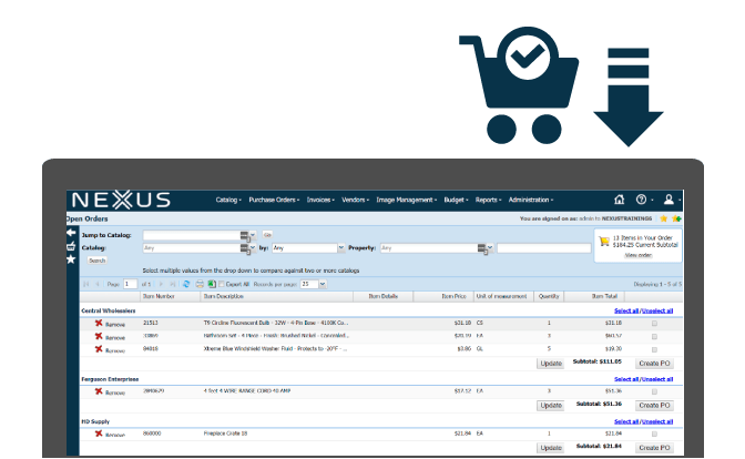 Ordering supplies couldn't be easier - plus it's simple to create an electronic purchase order to send to your supplier.