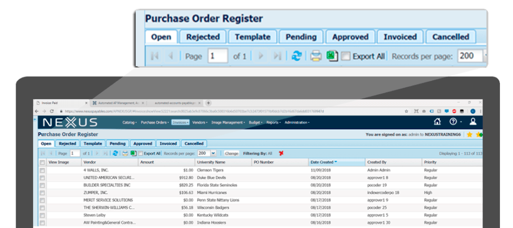 View all purchase orders in one dashboard.