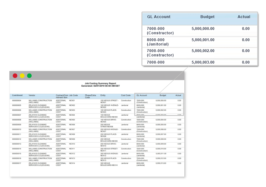 Nexus reporting provides all the necessary data on job expenses.