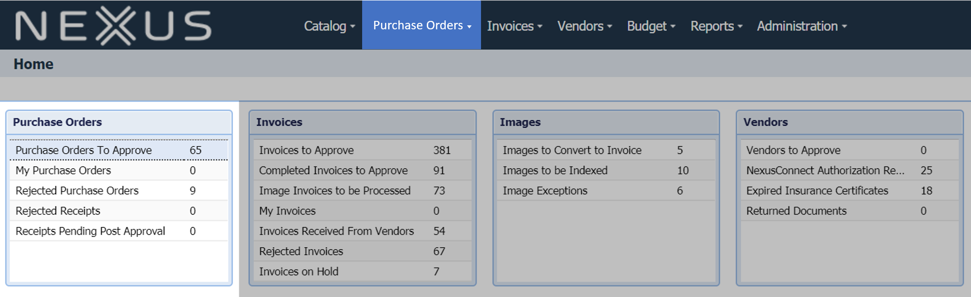 view electronic purchase orders in your NexusPayables dashboard