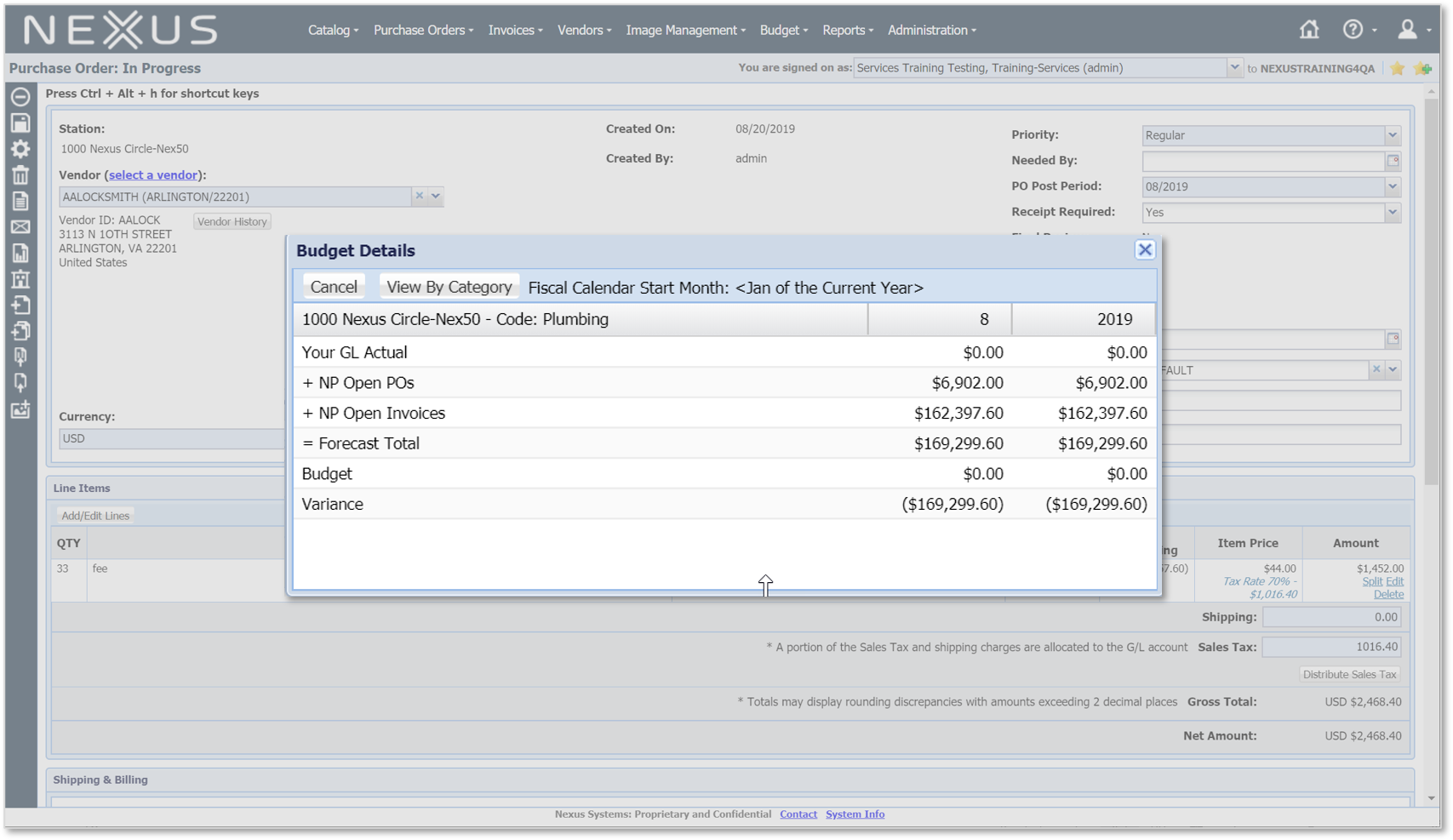 View how your electronic purchase order compares to budget and actualas